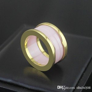 2020 Stainless steel high quality circular version pink ceramic ring pink ceramic ring couple rings for woman and man