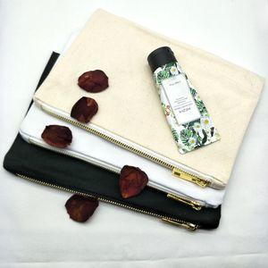 55pcs / lot 7x10in en blanco bolsa de cosmética de lona de algodón natural 12oz bolsa de cremallera de lona gruesa bolsa de maquillaje en blanco liso con cremallera de metal dorado