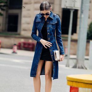 Женщины Осень средней длины Denim пальто с длинным рукавом Vintage Casual Женские джинсы Ветровка карандаш платье с поясом Overcoat1