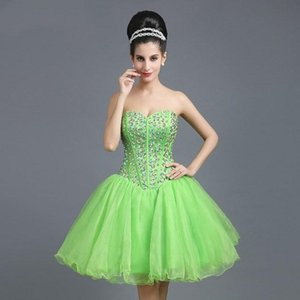 New Beading Sweetheart Tulle Homecoming Dresses Sweet 16 Short Prom Gowns Zipper Back Ball Gown Party Dress B77