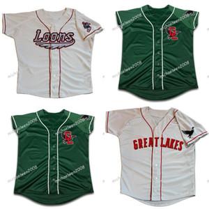 Mens Great Lakes Loons White Green Personalizzato Doppia Stitched Shirts Maglie da baseball Maglie di baseball di alta qualità