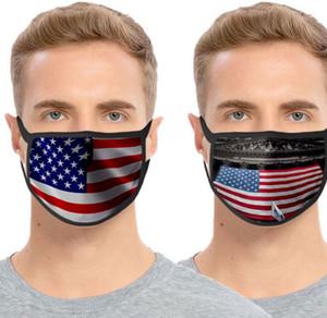 Bandiera nazionale americana maschera di poliestere anti Saliva polvere Protezione Respiratore traspirante Maschera Independence Day Bocca copertina LJJK2350