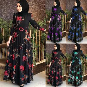 Muslim Abaya Drucken Maxikleid Türkisch Hijab Vestidos Cardigan Kimono Lange Robe Kleider Jubah Mittlerer Osten Eid Ramadan islamische