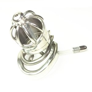 Stainless Steel Chastity Cock Cage with spike ring Penis Plug Lock Restraints Cages Adult Sex Toys for Him XCXA277-2-ytj