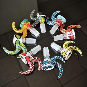 Os mais recentes Heady Glass Bowl 14 milímetros Masculino Joint peruca Wag Bowls com punho colorido Acessórios fumar tabaco Pieces Multi Cores Venda