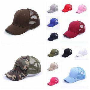 15 Colors Baseball Hat Ponytail Messy Buns Trucker Pony Caps Plain Baseball Visor Trucker Cap Adult Snapbacks High Quality