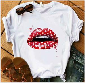 Moda traspirante Summer Street Style Femminile Abbigliamento Plus Size Womens Lips Top stampati Womens Tshirts Designer