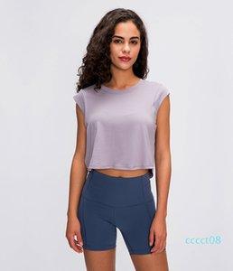 2020 лето новый LU-03 сплошной цвет маленький -sleeved Футболка женская подвергаются пуп носить случайный рубашку быстросохнущая дышащая йога одежда CT8
