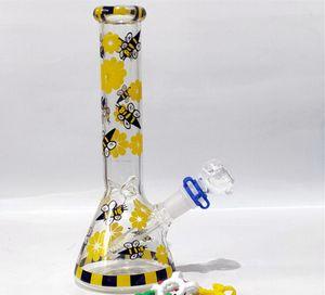 Красочные Bee Tall стекло Бонги Beaker База Бонг Водопроводные трубы Downstem Perc Bubbler воды Bongs Чича Кальяны С 18мм Bowl Бесплатная доставка