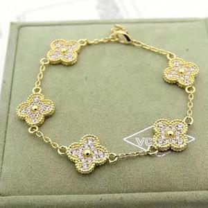 diseño de alta calidad pulsera de 5 flor con el diamante para las mujeres brazalete de joyería de collar de regalo de PS5267