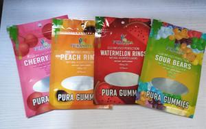 Sac mylar 100mg pura gummies comestibles sac d'emballage avec fermeture à glissière fenêtre resealble trois joint latéral odeur sachet plastique résistant