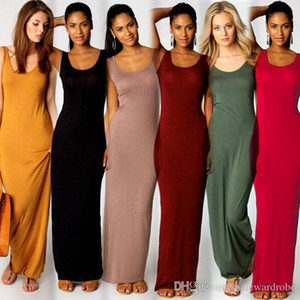 Women Long Tank Dresses Summer Candy Color 15 Colors Sexy Slim Fit Bodycon Dress Sleeveless O-neck Beach Bottoming Dress
