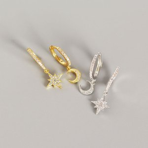 New Classic argent 925 Asymmetric Moon Star Dangle Boucles d'oreilles pour les femmes de la mode CZ Zircon Boucles d'oreilles