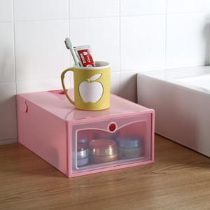 Горячий ящик для хранения Прозрачного пластикового башмака японских обувной коробка Утолщенных флип организатор ящик ящик для хранения обуви A98C