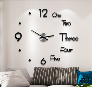 2018 New 3D Acrylic DIY Wall Clock Modern Design Large Decorative Quartz Clocks Silent Movement Horloge Living Room Black Golden