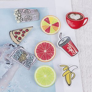 1pc Cute Cartoon Lemon Pizza Banana Cola Coffe Acrylic Badges Pins Women Brooches for Bags Apparel Fabric DIY Crafts Accessories
