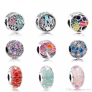 NEW The sea Paragraph Charms Bead Fit Bracelets 100% 925 Sterling Silver pandora Glass beads DIY bracelet The factory wholesale
