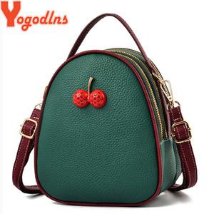 Yogodlns Мода PU кожа сумки на ремне Женщины Круглый Мини Shell сумка Crossbody сумка для Cute Teenger Девушки Cherry обновления