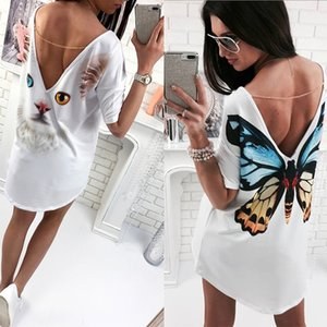 Casual Cat Butterfly Printed O Neck V backless Short Sleeve Loose White Mini Dress Women Fashion Dresses Summer Women