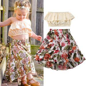 Little Girls Summer 2pcs Outfit Set Off Shoulder Solid Color Crop Top High Waist Flower Pattern Elastic Band long skirt Set