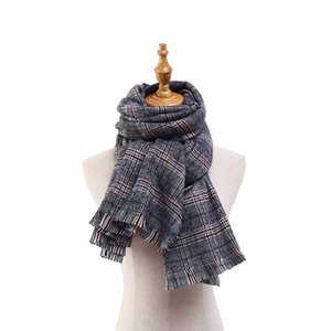 HOUMDSTOOTH The Wool Soinning Scarf Sweet Fragrance Style Scarf Windproof and Thickened Scarf Tassel Shawl