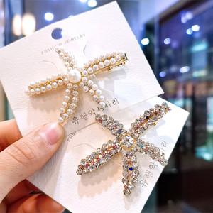 El cristal brillante de la perla de las estrellas de mar de pelo Adornos tocado INS Rhinestone lleno pato pasador de horquilla lateral Hairwear accesorios para la mujer Las niñas