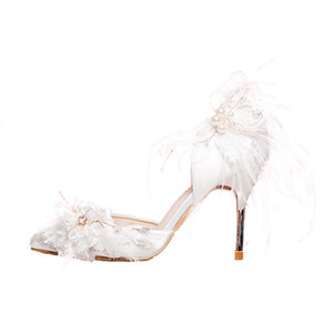 2019 New Fashion Wedding Shoes Comfortable Designer Feather Pearls Sequins 9 cm High Shoes Silk eden Heels for Evening Party Prom Shoes