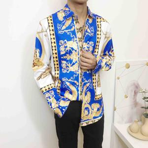 Uomini all'ingrosso Abbigliamento marca famosa abiti di design uomini galaxy fiore della stampa del drago d'oro lungo manicotto di stampa 3G camicia barocco Medusa Shir