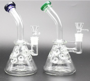 aleatória em estoque vidro Bongos Com A Bacia 14,4 milímetros Joint 20 centímetros oco Tire Perc Oil Rigs vidro Bongos grátis Cachimbos de água
