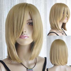 Wig Long Bang Gold Blonde Medium Straight Cosplay Hair Wig free shipping