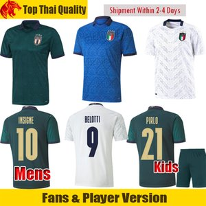 20 21 Italia camiseta de fútbol VERRATTI INSIGNE Camiseta de fútbol TOTTI Fans Player Version Italy Maglia IMMOBILE PIRLO uniformes men + kids kit
