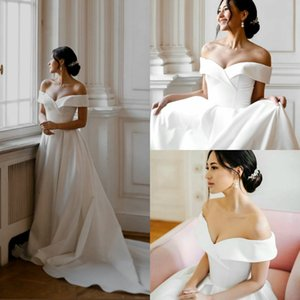 2020 Satin A Line Wedding Dresses Off The Shoulder Ruffles Cheap Bridal Gowns Custom Made Country Wedding Dress