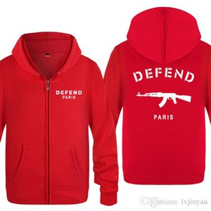 Zipper Hoodies Men DEFEND PARIS Men Mens Coat Fashion Hip Hoodie Print Full Fleece Jacket Hop Sleeve Sweatshirt For AK47 Women Ghnoa