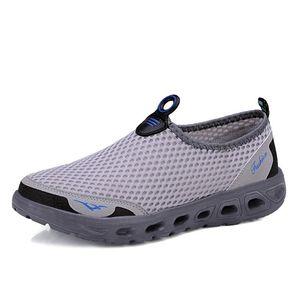 Zapatos para caminar de café del nuevo del verano sandalias de los hombres de malla transpirable suave al aire libre Slip-en los zapatos de choque absorbente de alta calidad calzado