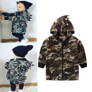Çocuklar Kapşonlu Ceket Bebek Bebek Karikatür Dinozor Boş Kıyafetler Çocuk Casual Giyim Boys Kamuflaj Kapüşonlular Gençler Fermuar Coat 2-8T 06