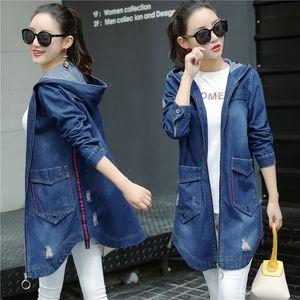 Denim Women's fashionable autumn mid-long hole size denim bf sleeve clip jacket loose long sleeve jacket