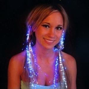 Las luces LED de pelo trenza de destello de la mariposa flash LED trenza de fibra óptica de la horquilla de seda de la trenza de falsos Luces de colores de pelo Artículos de fiesta de cumpleaños