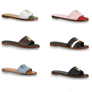 Nouveau designer sandale verrouiller il plat mule luxe pantoufles pour femmes 100% cuir véritable plat tongs Clip orteil grande taille 34-42 chaussures femme