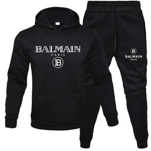 2020 Balmain Eşofman İçin Erkekler 2 adet Seti Yeni Moda Ceket Spor Erkek Eşofman Hoodie İlkbahar Sonbahar Elbise Kapüşonlular + Pantolon