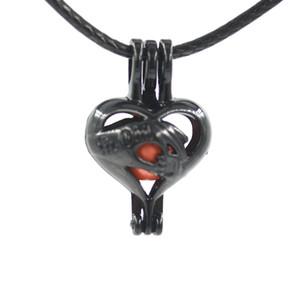 Gaiola de pérola preta pingente de Prata Rainbow cor Desejo amor gem gaiolas medalhão DIY charme pingentes montagens Para Fazer Jóias em Massa