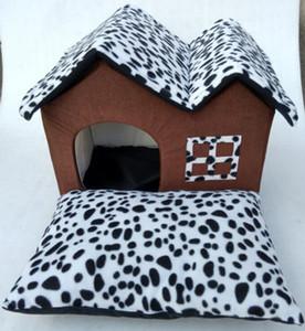 Çift Üst Pet Kennel Sıcak Benekli Leopar Baskı Köpek Ve Kedi Malzemeleri Çıkarılabilir Yıkama Pet Mat Yarı-kapalı Köpek Yata ...