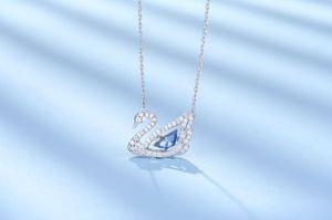 2020 Yeni Moda Basit Gümüş kolye Kristal Atlama Mavi Swan kolye Yıldönümü Sevgililer Günü Hediye