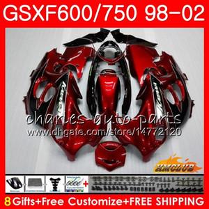 Corpo vermelho escuro para SUZUKI KATANA GSXF 750 600 GSXF600 98 99 00 01 02 2HC.21 GSX750F GSX600F GSXF750 1998 1999 2000 2001 2002 Kit de carenagem