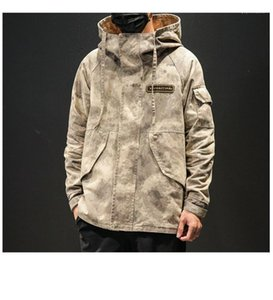 Sinek Bahar Ve Sonbahar Artı Ceket Tasarımcı Hommes Gevşek Ceket Kamuflaj Stil Man Coat Casual Fermuar