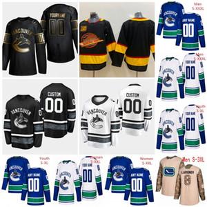 Özelleştirilmiş Vancouver Canucks 2019 YENİ Mavi Üçüncü Jersey 50. Özel Herhangi Numarası Adı erkekler kadınlar gençlik çocuk Beyaz Siyah Boeser Pettersson 4XL