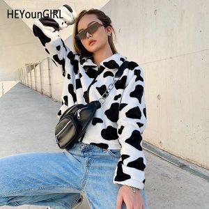 HEYounGIRL cópia da vaca Brasão Faux Fur Mulheres animal impresso Casual Cortar peludo jaqueta Teddy Zipper Harajuku coreana Overcoat Outono