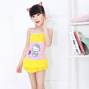 Love dripping water cartoon Shoulder strap swim printing children's swimsuit straps striped girl's one-piece swimming suit for women