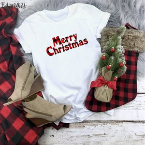 Plaid Merry Christmas T Shirt Women Fashion Graphic Cute Tee Kawaii Tshirt Fashion Hipster Christmas Party Style T Shirt