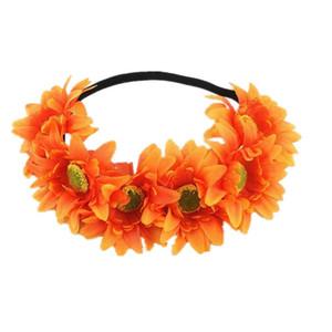 인공 Heronsbill 꽃 헤어 밴드 여행 비치 다채로운 꽃 크라운 웨딩 화환 신부 들러리 신부 머리띠 소녀 헤어 액세서리