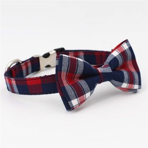 Plaid Dog Collar Pet Cat Dog Shirt Collar With Bow Tie&Checked Dog Bandana Scarf,By Handmade
